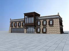 中国藏式风格酒店模型3d模型