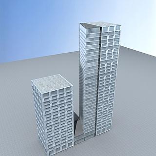 现代高层办公楼3d模型