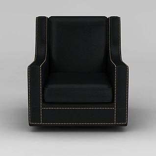 黑色皮革单人沙发3d模型
