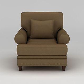 简约单人皮革沙发3d模型