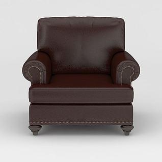 咖啡色皮艺单人沙发3d模型