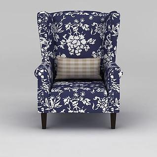 复古蓝布印花沙发3d模型