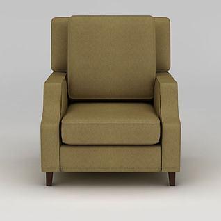 简约布艺单人沙发3d模型
