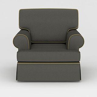灰色高底座单人沙发3d模型