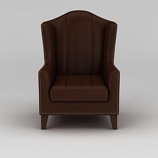 美式红褐色高背单人沙发3d模型