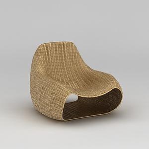 3d藤編單人沙發模型