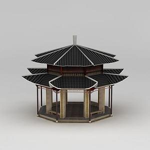 3d古亭模型