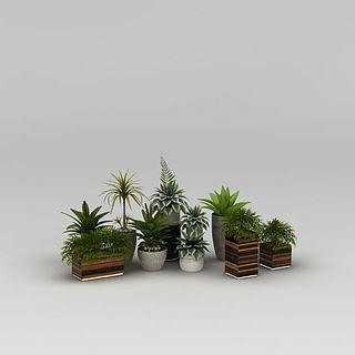 现代<font class='myIsRed'>绿植盆栽</font>组合3d模型