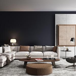 3d时尚客厅<font class='myIsRed'>转角沙发</font>茶几组合模型