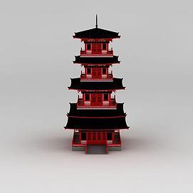 3d唐风<font class='myIsRed'>塔</font>模型