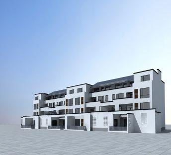 白色联排建筑楼