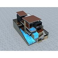 现代独栋别墅3D模型3d模型