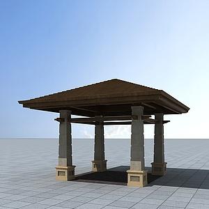 公园小亭子模型3d模型