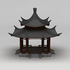 中式建筑双层亭子模型3d模型