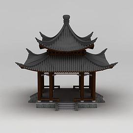 中式建筑双层亭子3d模型