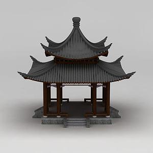 3d中式建筑双层<font class='myIsRed'>亭子</font>模型