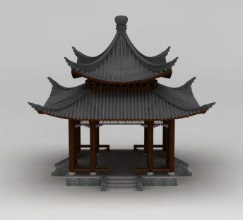 中式建筑双层亭子