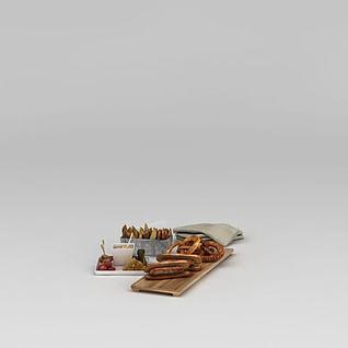 食物热狗3d模型