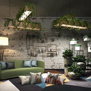 绿意盎然客厅沙发背景墙模型
