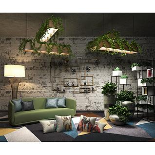 绿意盎然客厅沙发背景墙3d模型