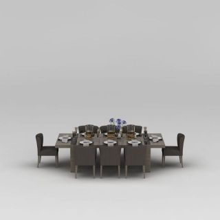 现代八人餐桌椅组合3d模型