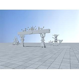 苗族特色门头3d模型