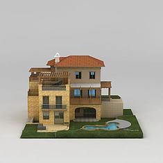 现代三层别墅3D模型3d模型