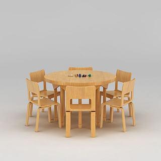 幼儿园<font class='myIsRed'>实木桌椅</font>3d模型