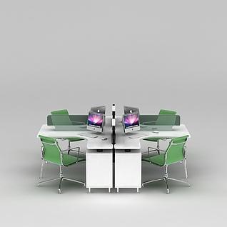 员工办公桌椅3d模型3d模型