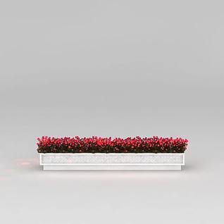 长方形花坛3d模型