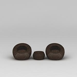 3d地中海休闲藤椅模型