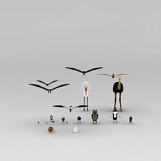 一群鸟3d模型