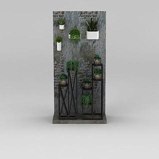 工业风墙壁绿植3d模型