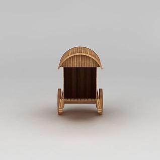 古代木质马车3d模型