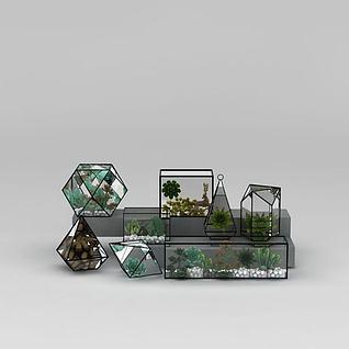 几何玻璃花房3d模型