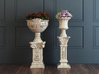 欧式雕花花盆3d模型