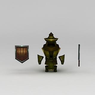 花千骨游戏士兵盔甲3d模型