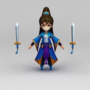 花千骨游戏美女3d模型