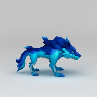 游戏素材蓝色狼3d模型