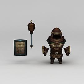 花千骨游戏士兵盔甲模型