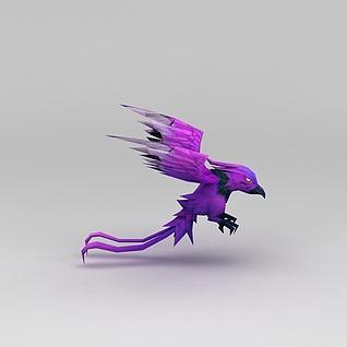 魔兽紫色飞鸟3d模型