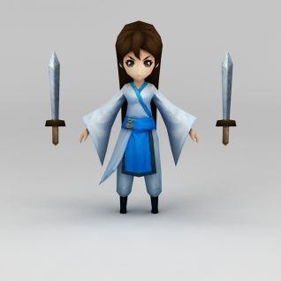 游戏人物古代美女3d模型
