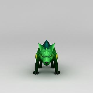 游戏素材绿色的狼3d模型