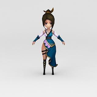 游戏人物素材美女3d模型