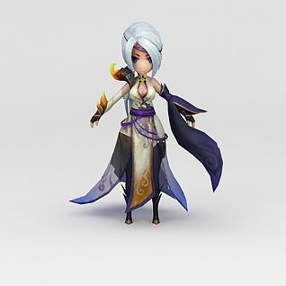 白发美女游戏人物3d模型