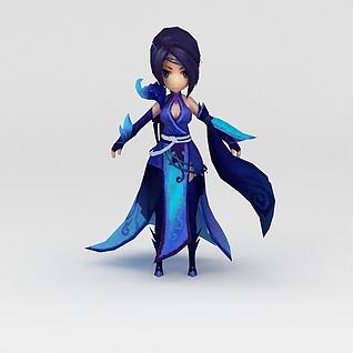游戏人物美女3d模型