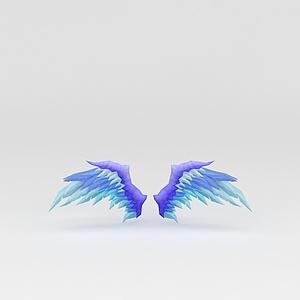 藍色翅膀游戲裝備模型3d模型
