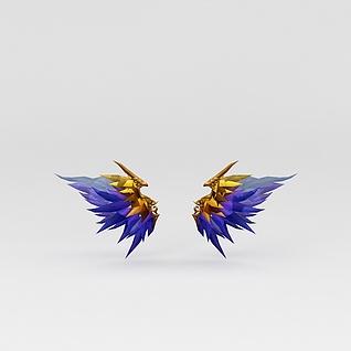 游戏高级装备蓝色水晶翅膀3d模型