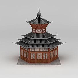 古建塔楼3d模型
