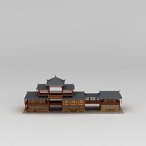 3d中國<font class='myIsRed'>古建筑</font>商鋪模型